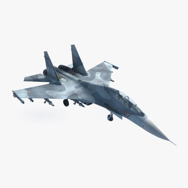 sukhoi su-27 ub flanker 3d model