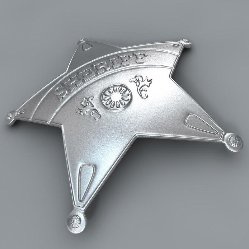 badge sheriff sherif 3d c4d