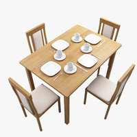 wooden kitchen table chair wood 3d model