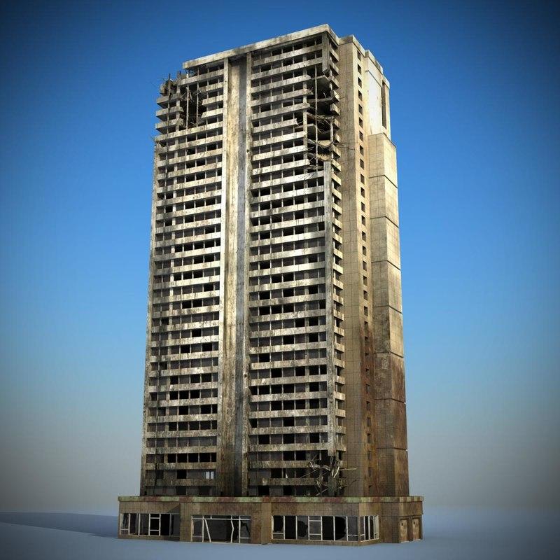 3ds sci fi futuristic ruined building