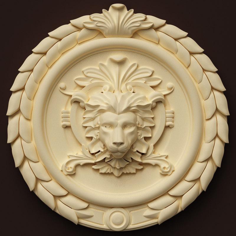 lion head centre interior wall 3d model