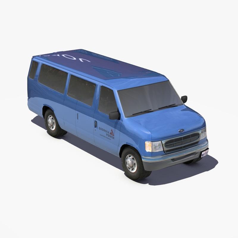 e350 van bus 3d model