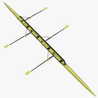 oars rowing boat 3d max