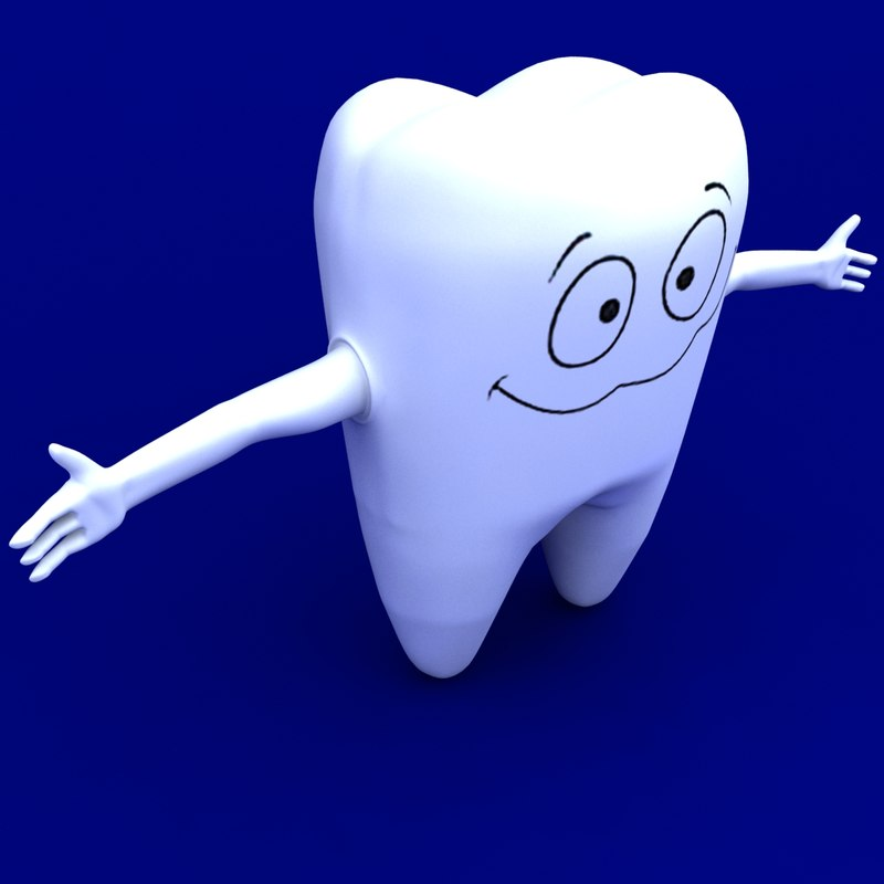 cartoon tooth rigged character 3d model