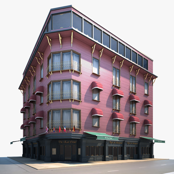 corner building pub restaurant 3d model