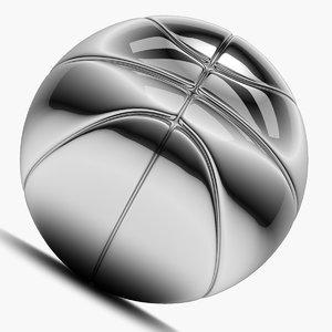 chrome basket ball 3d model