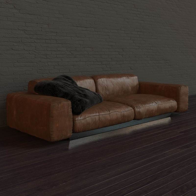 aged leather couch max