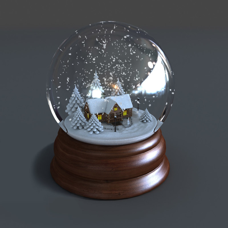D model of snow globe animations