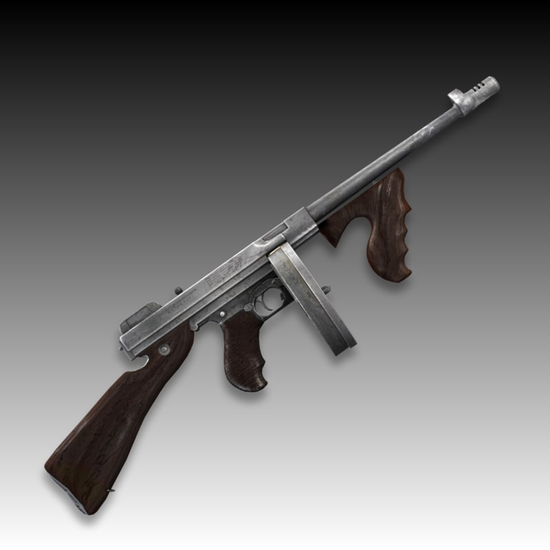 3d model thompson m1927 submachine gun