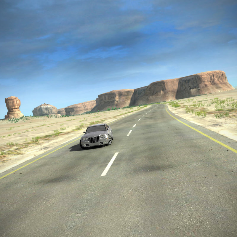 3d model scene road desert complete