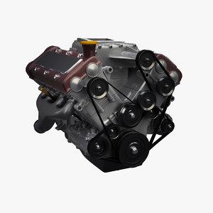 3d modern v8 engine supercharger