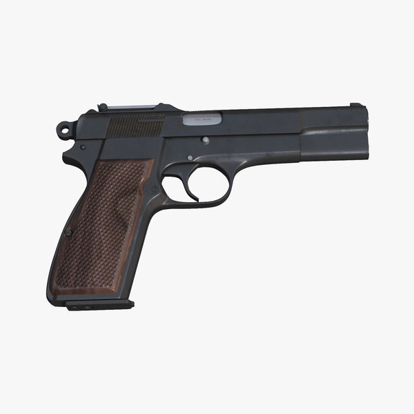 realistic browning parabellum 9mm pistol 3d max