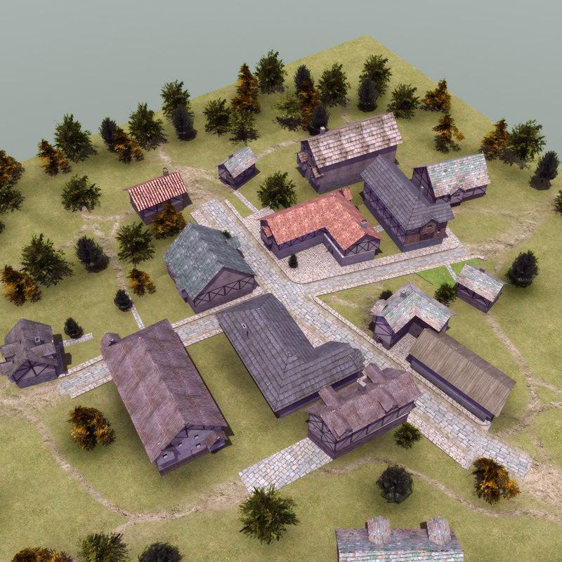 3d medieval village model