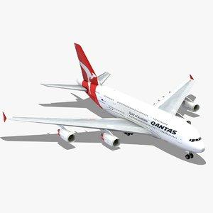 airbus a380 qantas airliner 3d model