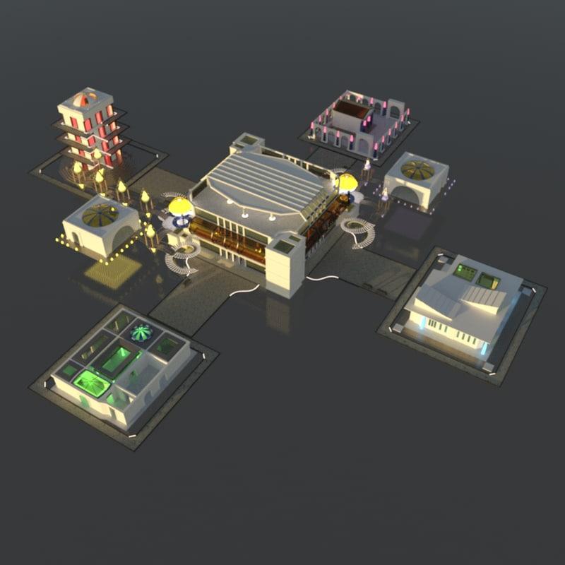 3d model buildings city scene