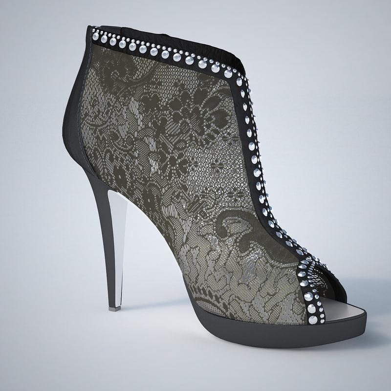3d model - lace noir shoes