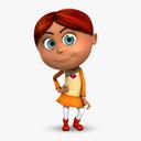 Rigged Cartoon Kid 02 Redhead Girl