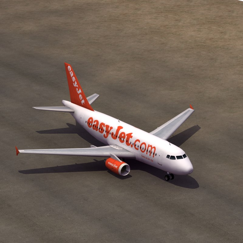3d airbus a319 easyjet airliners
