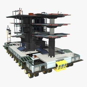 3dsmax sci-fi mobile landing place