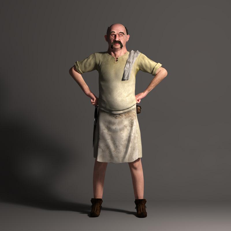 realistic character medieval innkeeper obj