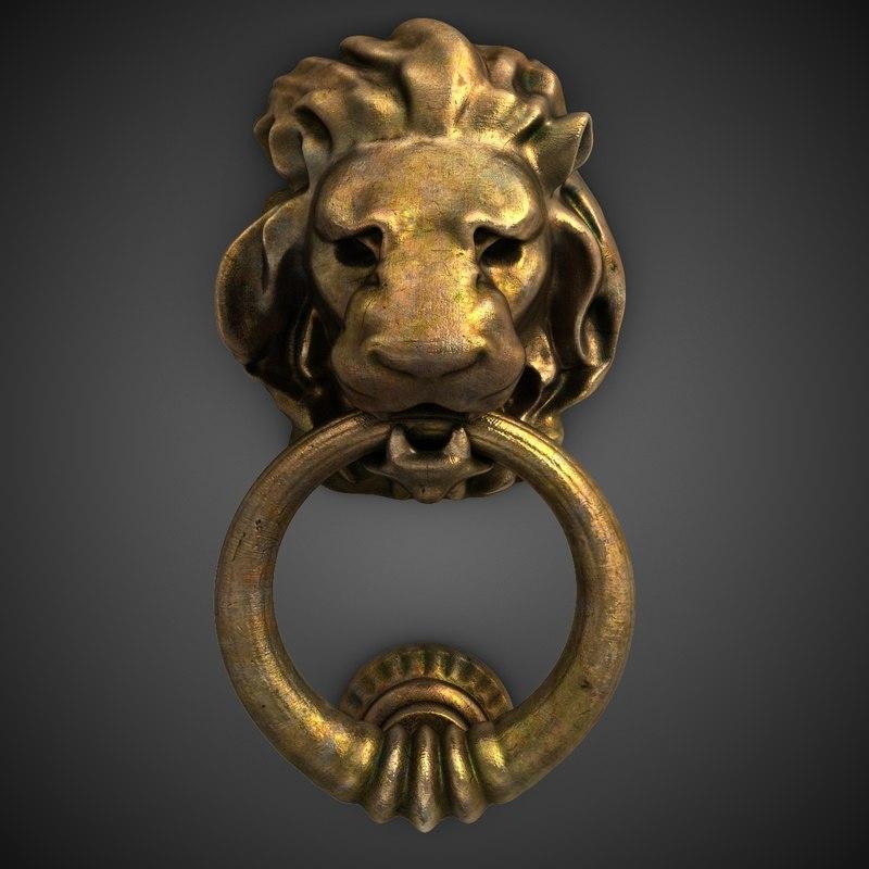 3d lion head door knocker