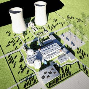 nuclear power plant scene 3d model