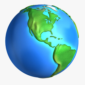 cartoon earth continents 3d obj