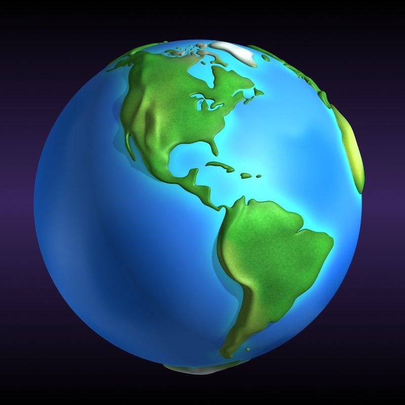 Earth continents 3d obj cartoon earth continents 3d obj publicscrutiny Choice Image