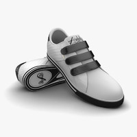 3ds max white-black sport shoes