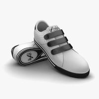 3ds max white-black sport shoes
