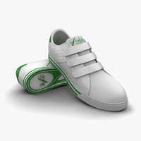 3d white-green sport shoes