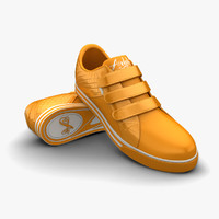 3d obj orange sport shoes