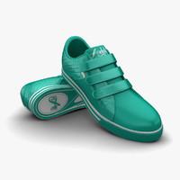 3d turquoise sport shoes model