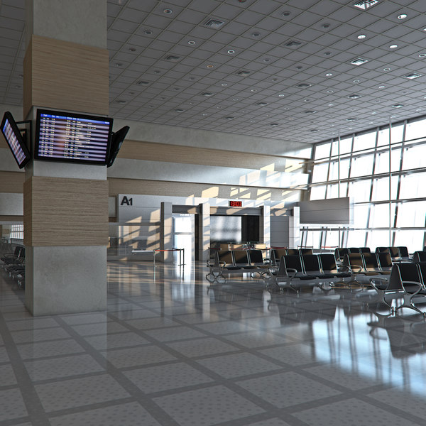 airport departures lounge 3d model