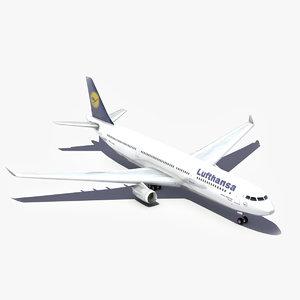 3d obj airbus lufthansa a330 aircraft