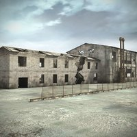3d ruined industrial building warehouse interiors model