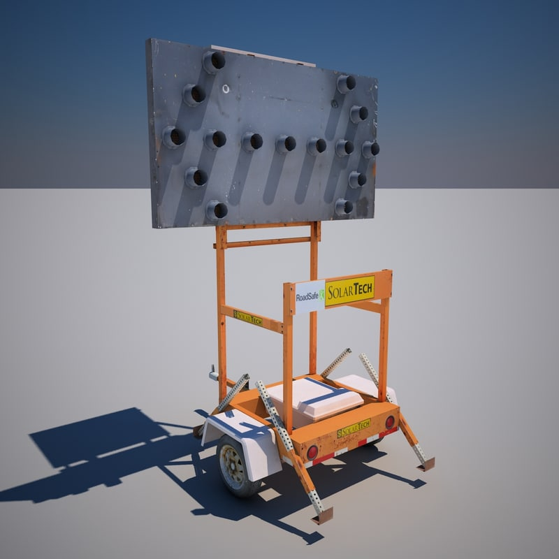 3ds max street construction sign