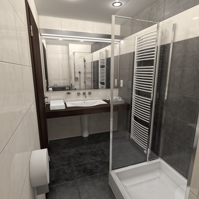 hotel bathroom shower 3d model