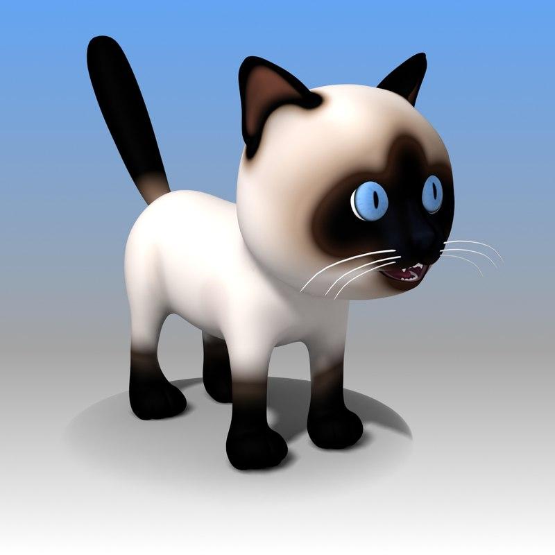 3d model cat cartoon kitty