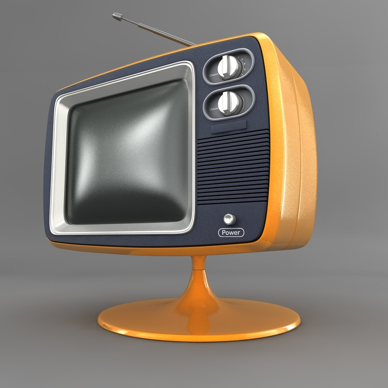 retro tv 3d obj