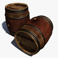 3d wooden cask barrel wine model
