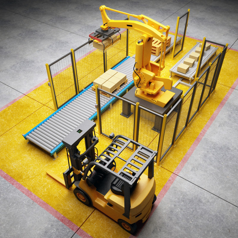 3d model palletizing cell scene robot