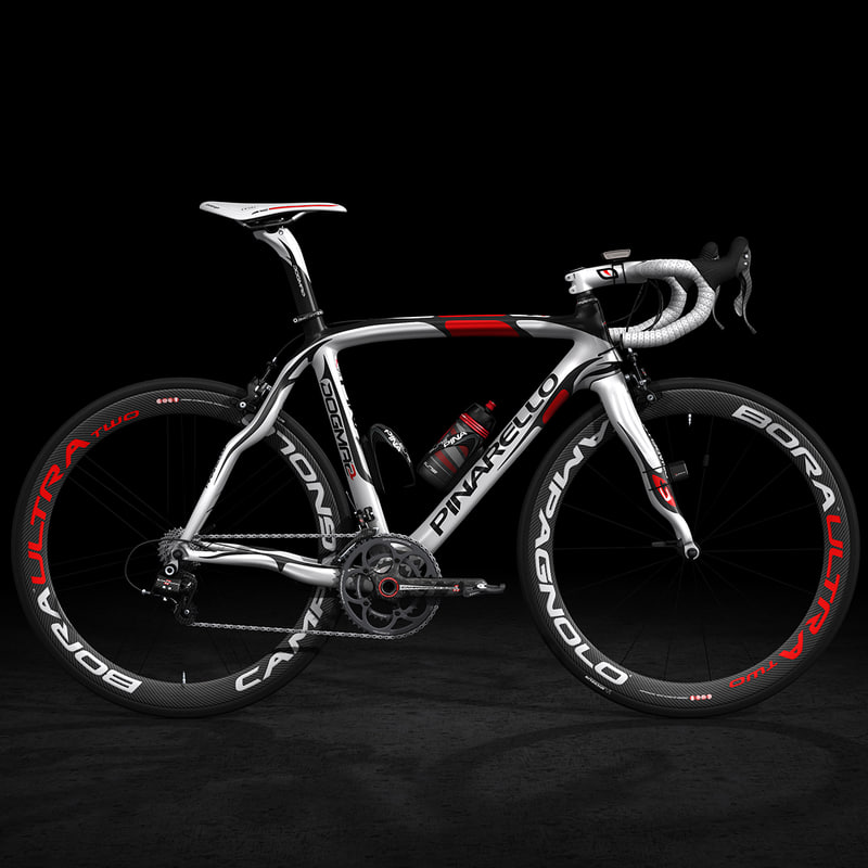 pinarello road bike rigged 3d model