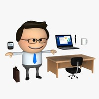 3d model clipart business man cartoon