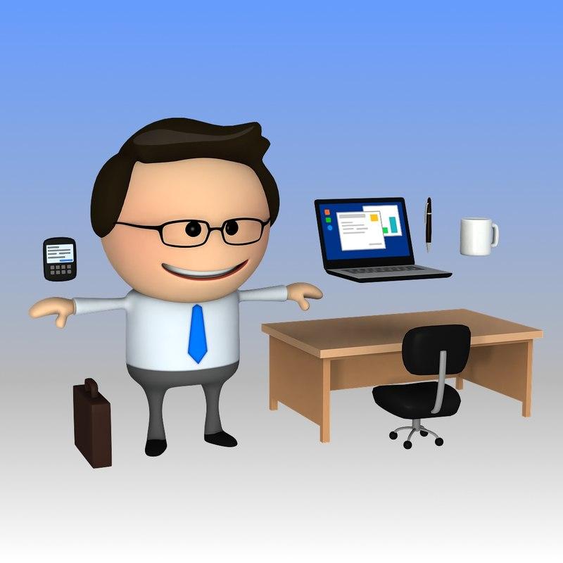 3d model clipart business man cartoon