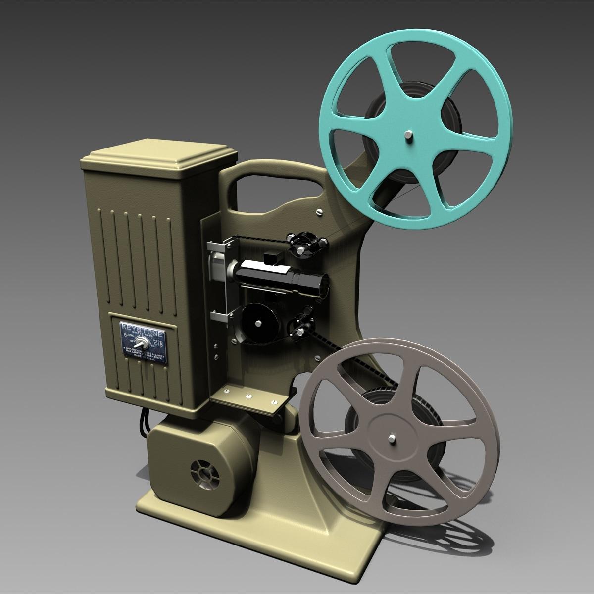 3d old movie projector keystone