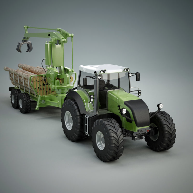 3d heavy tractor wood trailer