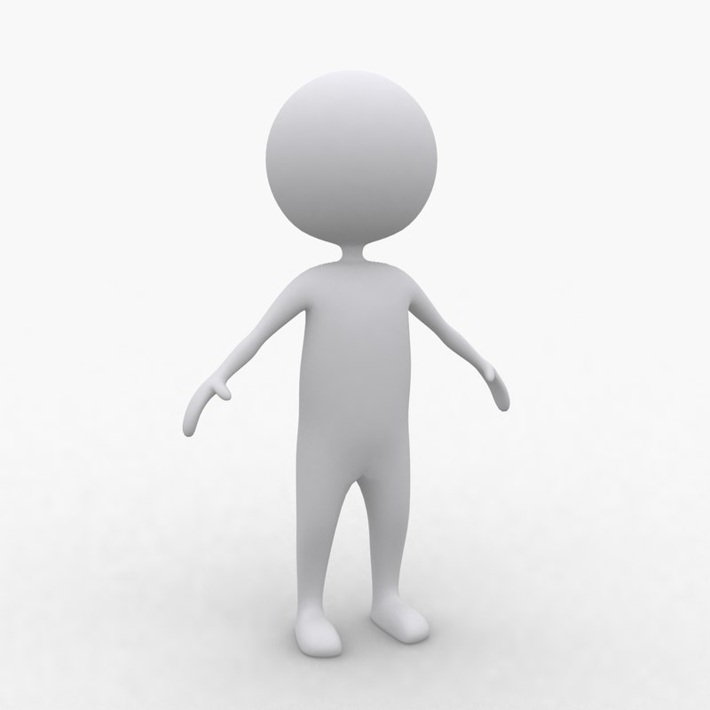 3d white stickman
