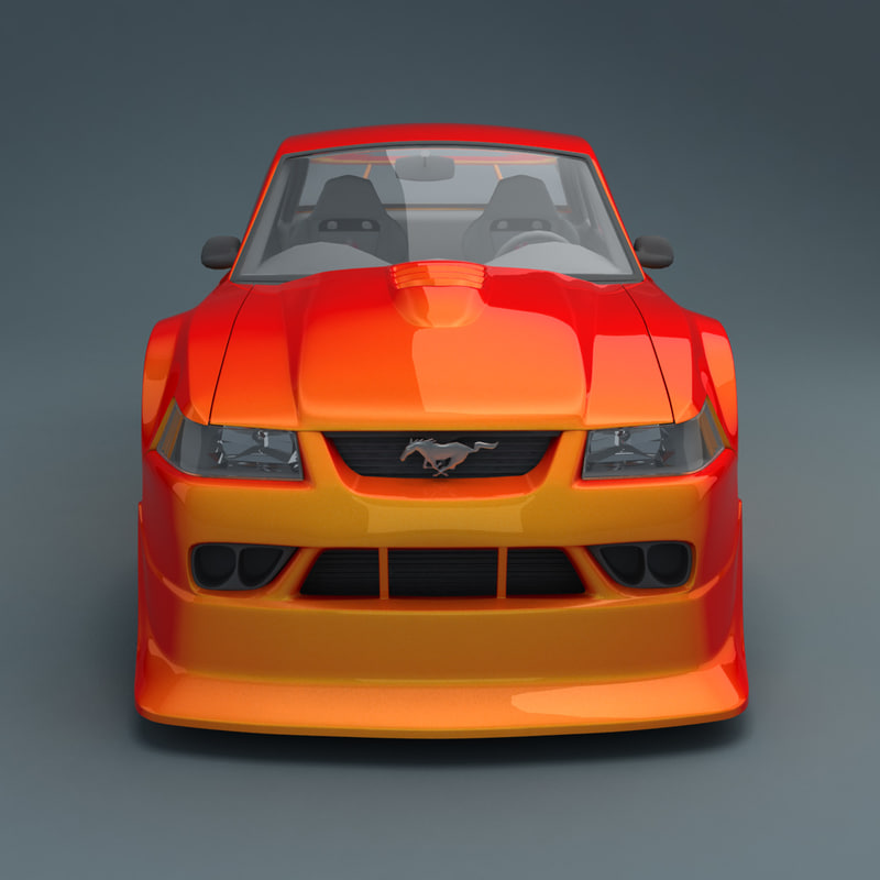 cartoon car - mustang 3d model