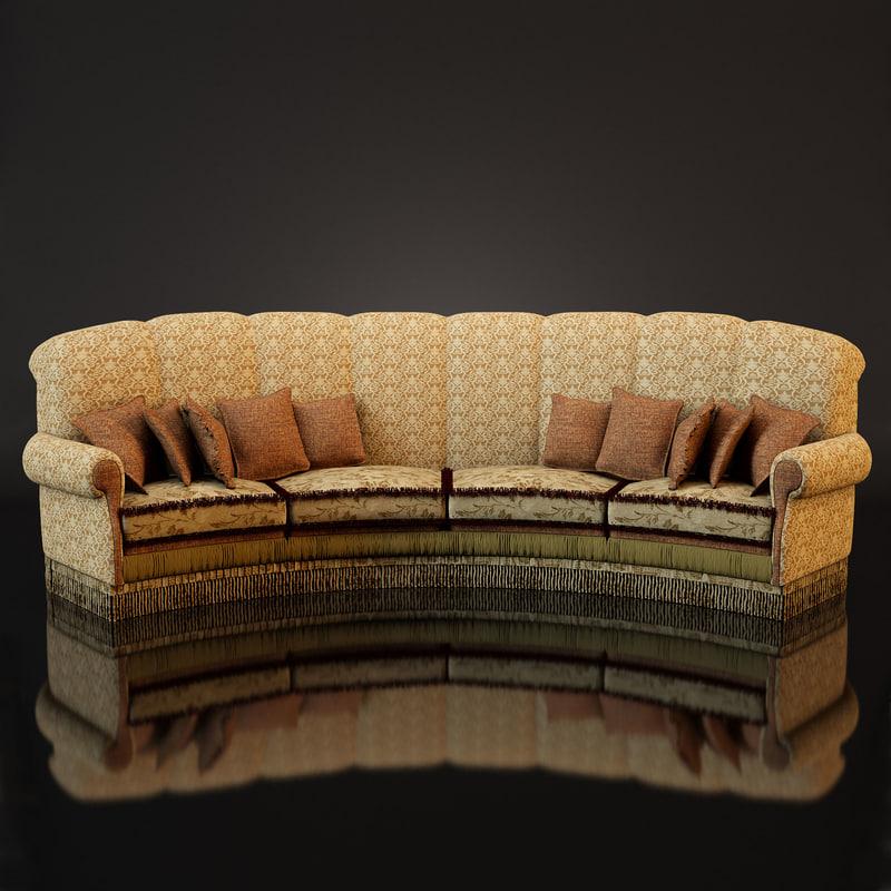 sofa amrica angolo - 3d model